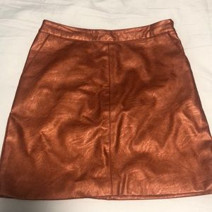 Copper Pleather Skirt Topshop